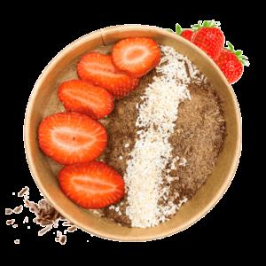 Schoko Hummus mit frischen Erdbeeren und Kokosflocken (vegan)